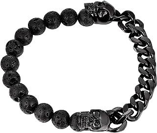 FJ 男式骷髅头不对称手链,不锈钢和火山岩石珠宝
