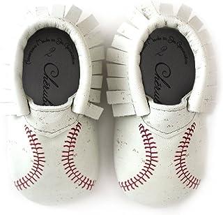 棒球软帮印花针脚设计 * 美国皮革软帮鞋,适合婴儿和幼儿,美国制造