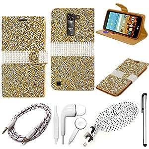 QCO WIRELESS 优质钱包对开式 + 182.88 cm USB 连接线 + 辅助 + 入耳式立体声耳机和手写笔套件适用于 LG K10(MetroPCS/Boost)(钻石钱包翻盖保护套 - 金色)