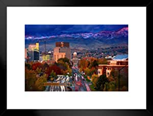 Depot Hill 创作的海报 Foundry Downtown Boise Idaho at Sunset from Depot Hill 摄影艺术印刷品 ProFrames 哑光框架海报 26x20 inches 253646