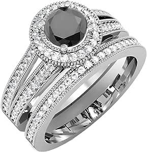 1.25 Carat (ctw) 18K White Gold White & Black Diamond Halo Bridal Engagement Set 1 1/4 CT (Size 9)