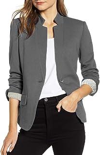 Vetinee 女式前开口袋外套长袖工作办公室开衫夹克