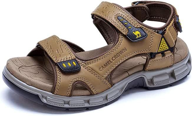 CAMEL 男式凉鞋真皮运动露趾凉鞋休闲弹性沙滩拖鞋夏季 卡其色 7 M US