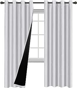 H. versailtex 白色遮光帘帷幕窗帘–优雅双宫绸人造丝隔热纯 grommet 遮光窗帘适用于客厅隐私*一套640.1x 213.4cm cm 白色