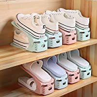 【省50% 空间 高度可调 适用不同鞋型】 韩式鞋架 男女鞋通用鞋架 可调节高度 上下双层设计 鞋柜 家用整理架 拒绝乱糟糟 瞬间整洁 让每一双鞋子都有一个自己的家 (升级款/10个装)