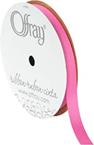 Offray Grosgrain Craft Ribbon, 3/8-Inch Wide by 20-Yard Spool, Hot Pink