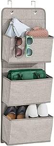 mDesign Over-the-Door Fabric Closet Storage Organizer for Purses, Handbags, Shoes, Sunglasses - 3 Pockets, Linen