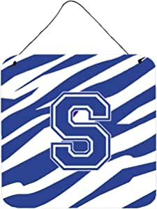 "Caroline's Treasures Letter S Initial Tiger Stripe Blue and White Wall or Door Hanging Prints, 6 x 6"", Multicolor"