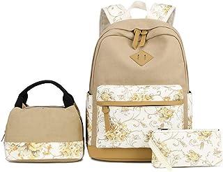 VIDOSCLA 3 件套包套装 民俗印花 小学生背包 小学生书包 学生背包 带午餐盒