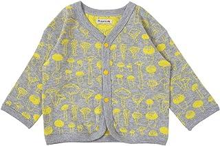 Hoppetta 两面穿的开衫蘑菇 麻灰x黄色 80