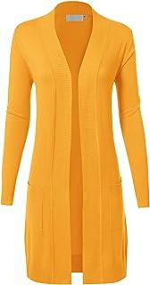MAYSIX APPAREL 長袖長線針織毛衣前開開襟開衫 W/口袋女士 (S-XL)