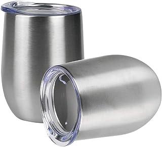 Jay Style 酒杯 - 12盎司(约340毫升)不锈钢玻璃杯带盖,无柄双层真空绝缘旅行杯适用于葡萄酒、咖啡、鸡尾酒、冰淇淋 亮灰色
