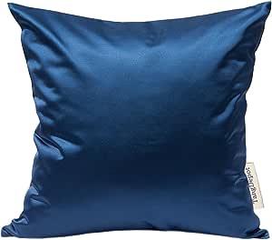 "TangDepot 纯色丝滑抱枕套,闪亮奢华靠垫套 *蓝 20"" x 20"" TPCover-HiQSilk-20x20NavyBlue"