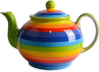 CinMin 彩虹条纹陶瓷陶瓷手绘茶壶,大号 8.75 In Striped CinStrTea0