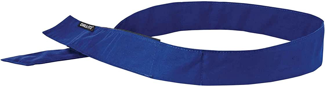 Ergodyne Chill-Its Evaporative Cooling Bandana - H and L Solid Blue One Size