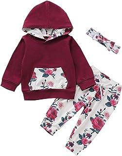 女婴衣服口袋运动衫,婴儿花卉连帽衫上衣 + 裤子 + 头带套装