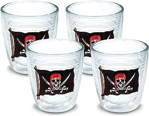 Tervis 1035634 海盗旗 带剑 玻璃杯 4 件装 340.19 克,透明 透明 12盎司 PIFL-S-12-SW