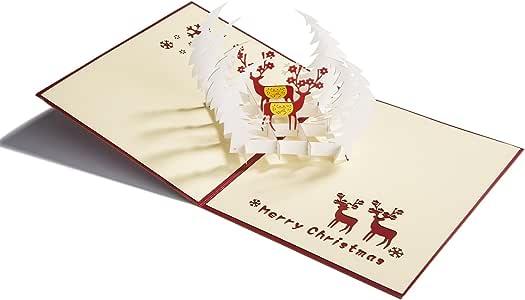 3D 圣诞活页卡片假日卡片手工贺卡带信封 C PP-Christmas Card