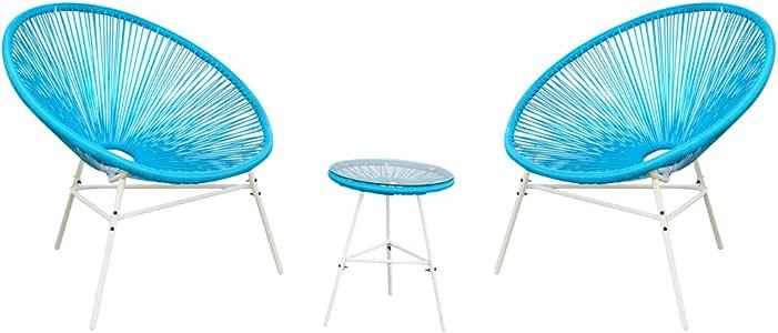 PatioPost Wicker 太阳椅天井放松聊天套装,带桌子 3 件套 蓝色 CS63149-Blue
