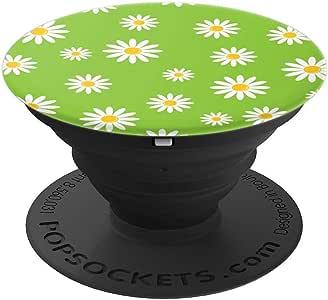 酷炫复古白色雏菊绿场 PopSockets 手机和平板电脑握架260027  黑色