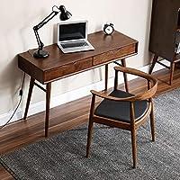 致林 实木书桌 电脑桌椅组合北欧简约台式家用办公桌子写字桌 书桌+肯尼迪椅1把(亚马逊自营商品, 由供应商配送)