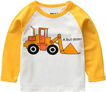 Ubeiyi 男童棉质长袖 T 恤幼儿卡通 T 恤 白色 5