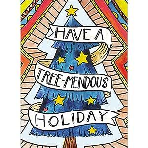 """无树问候语圣诞卡/节日记事卡和信封 圣诞快乐 5""""x7"""" Tree-Mendous"""
