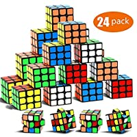 YCSH 24 件装派对拼图玩具,迷你方块套装,派对喜爱方块拼图,拼图方块环保*材料,色彩鲜艳,派对拼图游戏适合男孩女孩儿童幼儿
