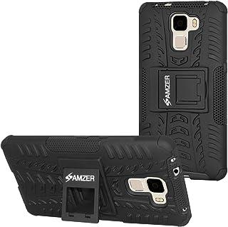 AMZER 耐冲击混合战士手机壳带支架皮质华为荣耀 7 - 零售包装 - 黑色