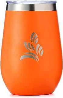 340.19 克无*杯,杯盖玻璃杯,不锈钢 xFFFD;双壁真空隔热杯非常适合咖啡、茶、*吧 - Timeless Artistry 出品 橙色
