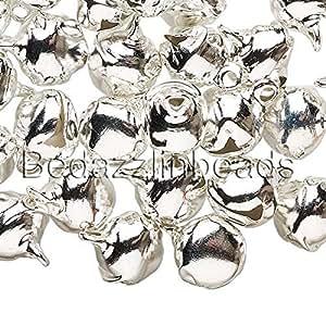 40 10mm 3/8 英寸钢制精致铃铛带环用作吊坠 银色 0726714458073
