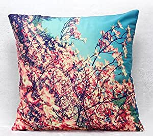 Yecz 18 X 18 Inches Oil Painting Cotton Linen Throw Pillow Cover Red Flower Decorative Cushion Case Home Pillowcase