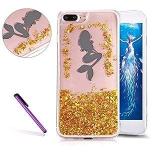 iPhone 7Plus 手机壳 leecoco iphone 8PLUS 保护套3d 奢华闪亮钻石 gilitter 流沙 Liquid Bling 浮动 Moving 硬质 PC 保护套适用于苹果 iPhone 7Plus F Gold Mermaid