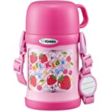 ZOJIRUSHI 水杯 兩用式 不銹鋼保溫杯 吸管&杯蓋 兒童水杯 450ml 粉紅色 SC-ZT45-PA