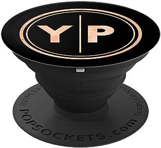 YP 交织字母礼物两个首字母 YP 交织字母 PopSockets 握把和支架,适用于手机和平板电脑260027  黑色