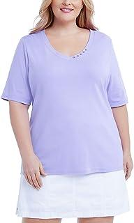 Karen Scott 加大码棉质 V 领上衣紫色 Bliss