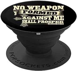 基督教:Isaiah 54:17 基督教信仰灵感礼品冰球球夹和支架,适用于手机和平板电脑260027  黑色