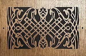 图案切割木格栅:1604 用于壁装(厘米)= 40.6 x 10.16,总尺寸(厘米)= 44.45 x 14.07 厘米,橡木,图案 K