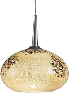 Bruck Lighting 221812mc Laguna Uni-Plug 低电压吊坠带香草卵石玻璃灯罩,哑光铬