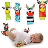 Pronto USA YOLO 嬰兒手腕搖鈴玩具襪 - 嬰兒手腕搖鈴和*尋找套裝,幼兒早期教育開發軟動物玩具,男女皆宜 4 件套(斑馬)