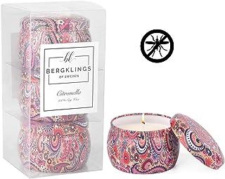 瑞典香茅蜡烛 3 件装 - 香薰*蜡烛 - 驱蚊蜡烛 - 香味天然*大豆蜡 - 装饰性旅行锡 - 室内户外 - 夏季礼物 - 礼品套装