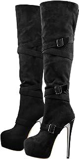 MissHeel 女式防水台高跟细高跟搭扣过膝靴