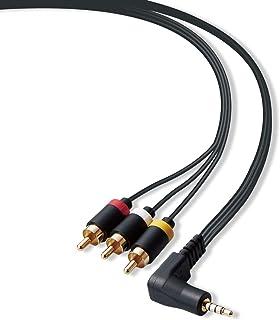 Elecom宜丽客 AV电缆 立体声迷你插头 (L型 4极) - RCA插头DH-MLWRY10BK 1.0m