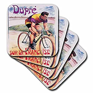 3dRose cst_149749_3 Vintage Dupre Sur La Francaise Bicycles Advertising Poster Ceramic Tile Coasters, Set of 4