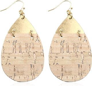 RIAH FASHION 波西米亚精致薄金属轻质镂空耳坠 - 金银丝钩吊坠花瓣叶、生命树、软木
