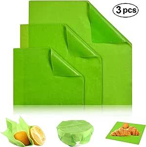 Woochic Beeswax Wrap 可持续可重复使用的食品包装可生物降解塑料无蜂蜡食品包装 - 3 件套,小号,1 中号,1 大号 *印花