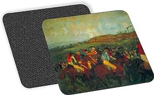 Rikki Knight Edgar Degas Art Gentlemen 竞赛设计柔软方形啤*杯垫(2 件套),多色