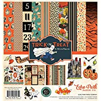 Echo Park - 万圣节魔术或* 12x12 剪贴簿套件 - 商品 CBTT44016TM - 包括万圣节服装、幽默的房子、南瓜、黑猫、蝙蝠、树、糖果、叶子、女巫和稻草人。