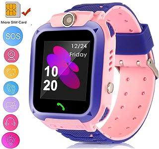 TOPCHANCES 儿童 GPS 智能手表追踪手表带遥控相机防水婴儿手表 SOS SIM 呼叫位置设备追踪器适合儿童* 粉色+紫色