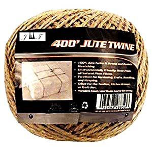 JEWELS FASHION 400Ft 棕色黄麻绳结实耐用,天然,可生物降解,适用于工业、包装、工艺、爱好、礼品、装饰、捆绑、园艺和家庭使用